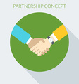 Partnership concept handshake in flat desig vector