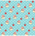 Seamless sweet pattern with cupcake and cherry vector
