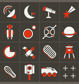 Icons space in flat style color set 2 vector