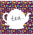Tea time background with teapot vector