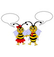 A couple of cartoon bees with chatting bubbles vector