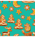 Seamless christmas pattern - xmas gingerbread on b vector