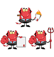 Happy devil boss cartoon characters collection vector