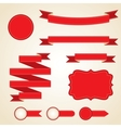 Set of curled red ribbons vector