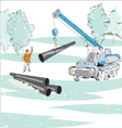 Gas pipe winter scene vector
