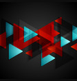 Dark tech background with red blue triangles vector