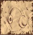 Headphones isolated on vintage background vector