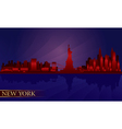 New york night city skyline detailed silhouette vector