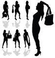 Girl with bag silhouette vector