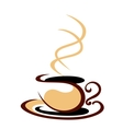 Hot steaming cup of coffee vector