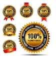 100 money back gold sign label template vector