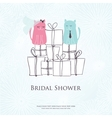 Bridal shower invitation card with two cute cats vector