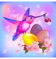 Easter greeting card with eggs cherry flowers and vector