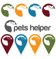 Pets helper design template pins and web icons set vector