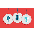 Hanging team work badges concept vector