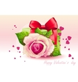 Card for valentines day pink rose with green box vector