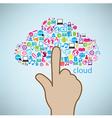 Hand clicking social icon concept eps10 vector