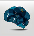 Brain and question marks - questions vector