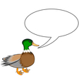 A funny cute duck with a talking bubble vector