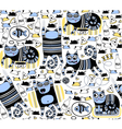 Funny cats seamless background vector