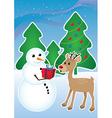 Snowman and reindeer vector