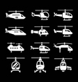 Set icons of helicopters vector