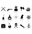 Black pirate icons set vector