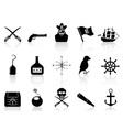 Black pirate icons set vector