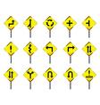 Road sign set warning vector
