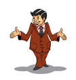 Smiling businessman in cartoon style be surprised vector