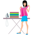 Young woman irons clothes vector