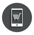 Smartphone with shopping cart sign icon vector
