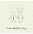 Bridal shower invitation with two cute rabbits in vector