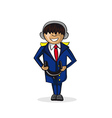Profession jet pilot cartoon figure vector