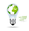 Save the world light bulb with globe inside vector