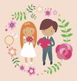 Groom with bride - wedding invitation design vector