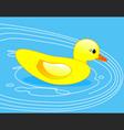 Rubber duck in blue water vector