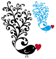 Ornamental bird with red heart vector