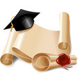 Graduation cap and diploma vector