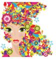 Colorful hair women vector