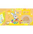 Little bunny paints easter eggs vector