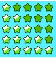 Green game rating stars icons buttons vector