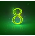 8 green glowing number eight vector