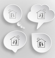 Home dog white flat buttons on gray background vector