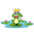 Happy king cartoon frog vector
