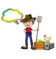 A farmer holding a rake with an empty callout vector
