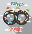 Export import - cars on endless road vector