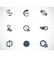 Black clock icons set vector