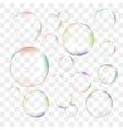 Set of transparent soap bubbles vector