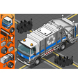Isometric white garbage truck in front view vector